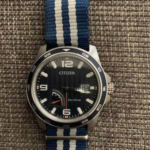 Men's PRT Blue Dial Striped Nylon Watch